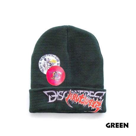 "DISCOVERED ""VERY METAL"" STICKER KNITCAP(GREEN)"