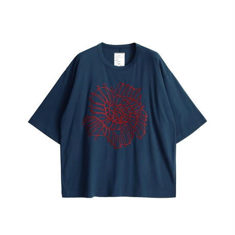 SHAREEF ABSTRACT FLOWER emb. S/S BIG T(Navy Green)