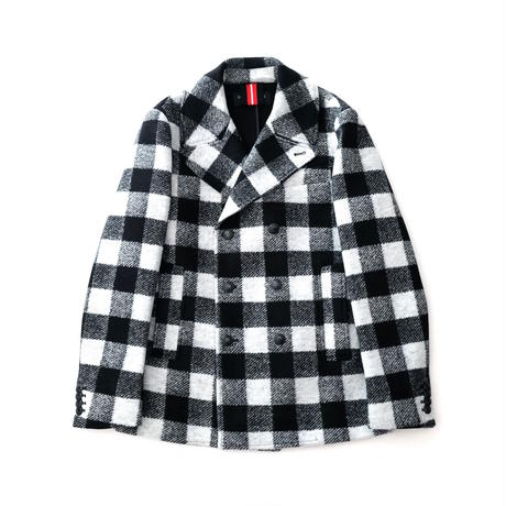 HYDROGEN WOOL SCUBA PEACOAT(BLACK×WHITE CHECK)