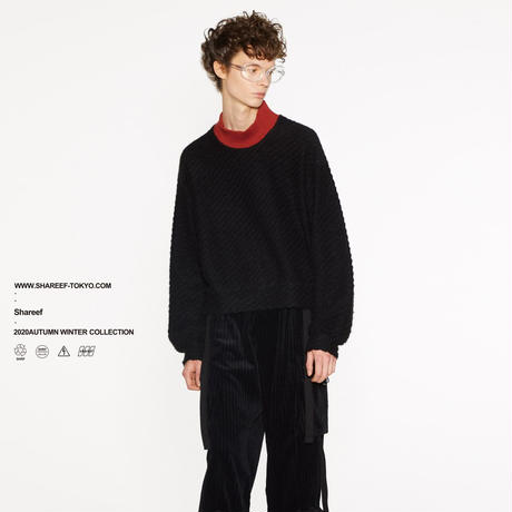 SHAREEF TWILL SHAGGY HIGH NECK PULL OVER(Black)