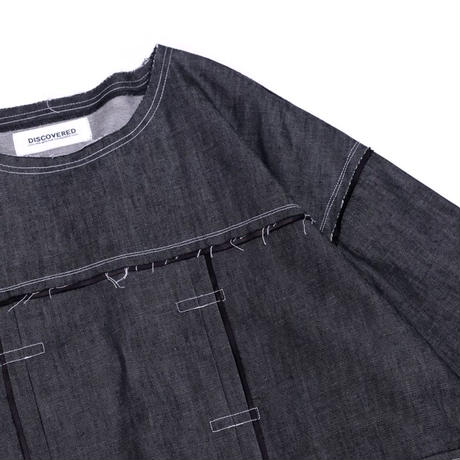 DISCOVERED CUT OFF DENIM PULLOVER(BLACK)