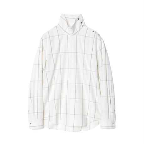 IRENISA HIGH NECKED PULLOVER SHIRT(IVORY CHECKED)