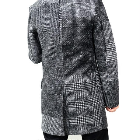 HYDROGEN WOOL SCUBA DOUBLE BREASTED COAT(PATCHWORK)
