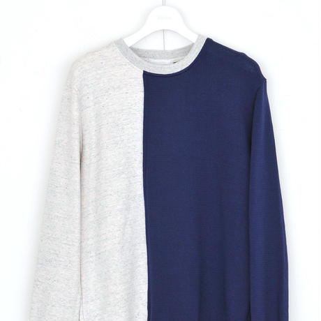 DISCOVERED R/L SWEAT KNIT(NAVY×O.WHITE)