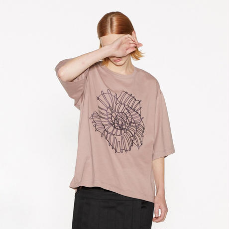 SHAREEF ABSTRACT FLOWER emb. S/S BIG T(Mokha Pink)