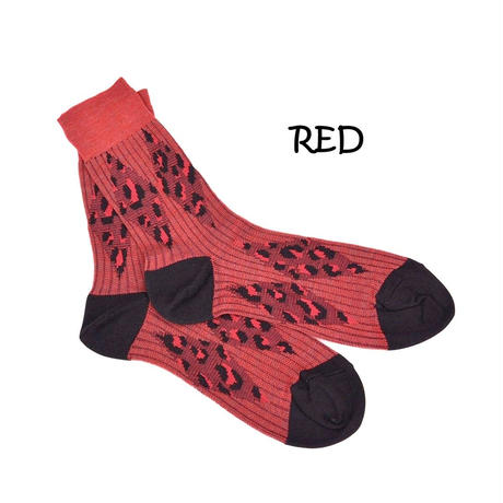 DISCOVERED LEOPARD SOCKS(RED)