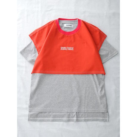 DISCOVERED LAYERED T-SHIRT(RED×GRAY)