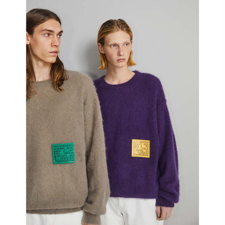 MISTERGENTLEMAN VIOLA & ROSES PATCHED MOHAIR KNIT(BEIGE/GREEN/PURPLE/GRAY)