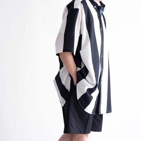 UNITUS Super Large Half Sleeve Shirt Big Stripe(Ivory×Navy)