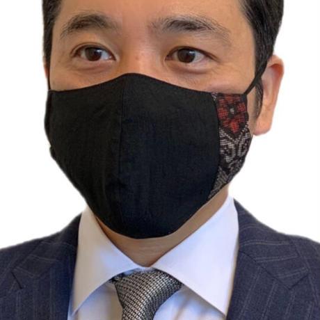 大島紬マスク ブラック(竜郷柄)【S-13】
