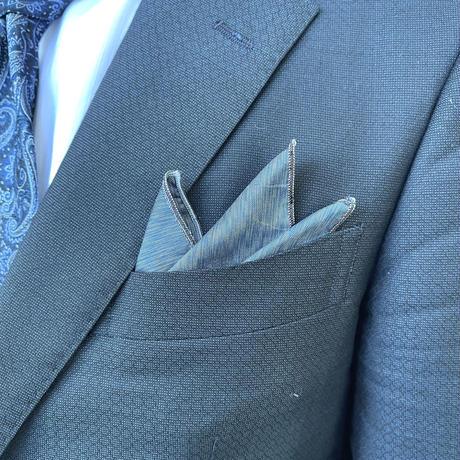 ポケットチーフ(ブルー無地)【P-4】