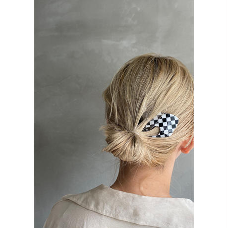 Hair stick  🏁Checker flag  [9月下旬〜10月上旬のお届け] チェッカーフラッグヘアスティック