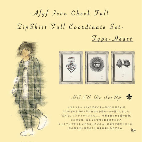 AFYF ICON CHECK FULL ZIP SHIRT FULL COORDINATE SET 【TYPE-HEART 】