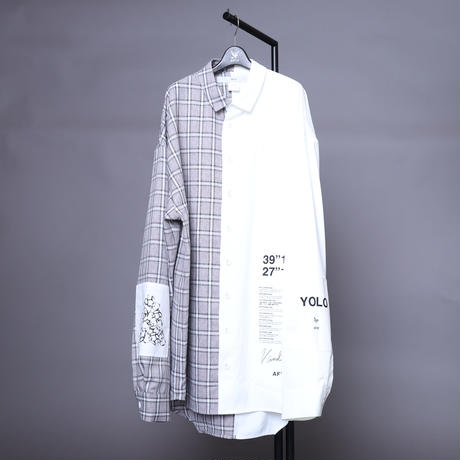 【AFYF】  ICONBILINGUAL SHIRT [LTGRAY×BLUE CHECK/WHITE]