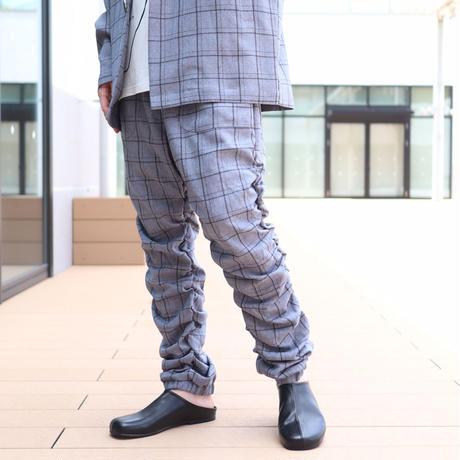 【CLASSIC ROV】 TROPICAL (清涼スーツ素材) SHIRRING PANT [杢BLACK CHECK]
