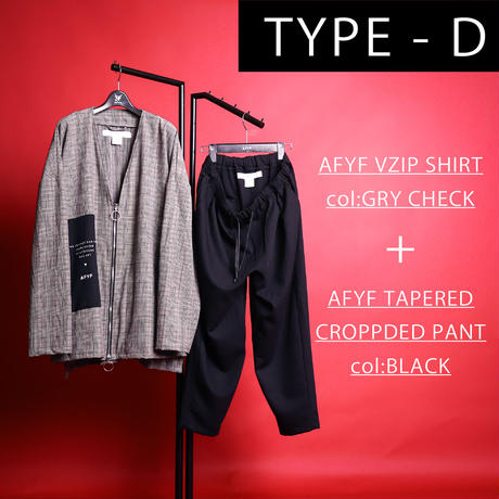 【AFYF】[MICHELL DE MARTINI シグネーチャー モデル] コンビアイテム   V ZIP SHIRT×TAPERED PANT