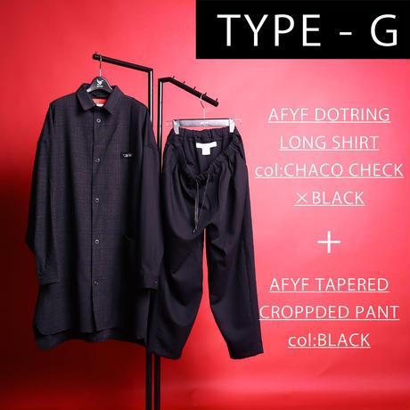 【AFYF】[JOSH RONWOOD シグネーチャー モデル] コンビアイテム      LONG SHIRT DOT RING×TAPERED PANT