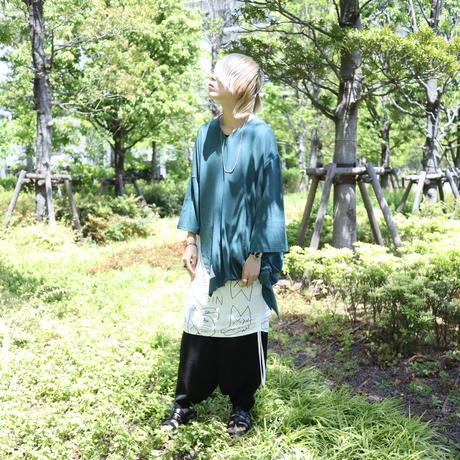 【CLASSIC ROV】 リネンコットン 麻の質感が心地よい裾アシメVネックLST [DK GREEN]