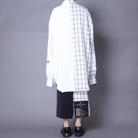 【AFYF】  ICONBILINGUAL SHIRT [WHITE×BLK CHECK/WHITE]