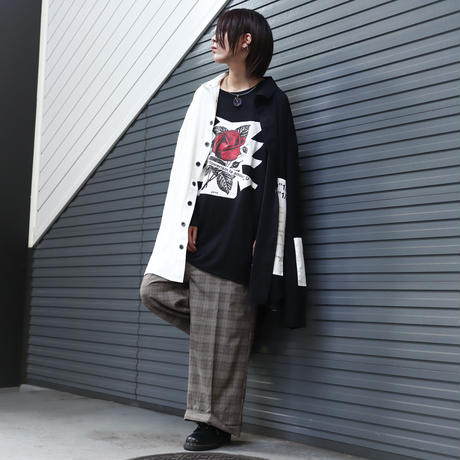 【AFYF】  MESH PRINT LS TEE [BK-ICNROSE]