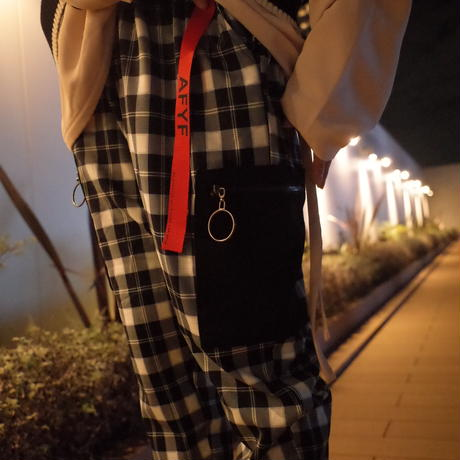 【AFYF】BASIC FOR OVSIZE SKINNY RIB PANT[CHECK-BLACK]