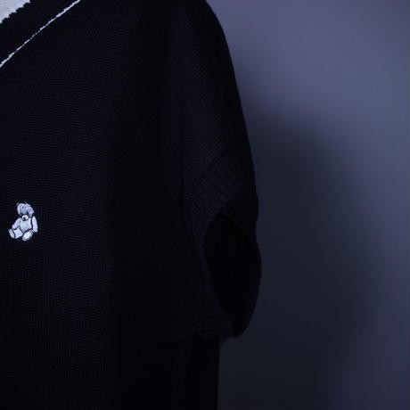 ダークベアーバザール 限定生産アイテム【AFYF】🧸ついに登場プチベアくん JERZY KNIT BIG VEST [DARK BEAR-BLACK/WHITE]