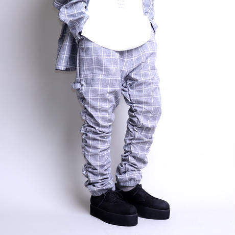 【CLASSIC ROV】 TROPICAL (清涼スーツ素材) SHIRRING PANT [杢GREY CHECK]