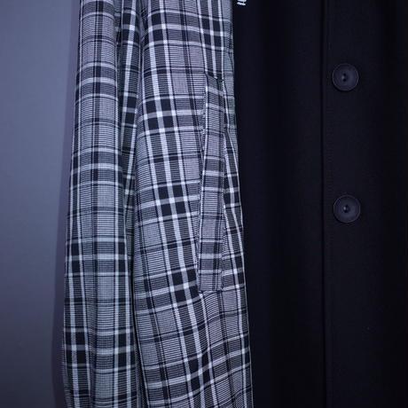 【AFYF】BASIC OVERSIZED CHECK COMBI  SOUTIEN COAT [GRAY/BLACK]