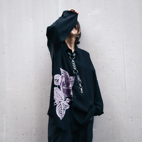 【AFYF】  ICON BIG SHIRT[BLK-PPL ROSE]