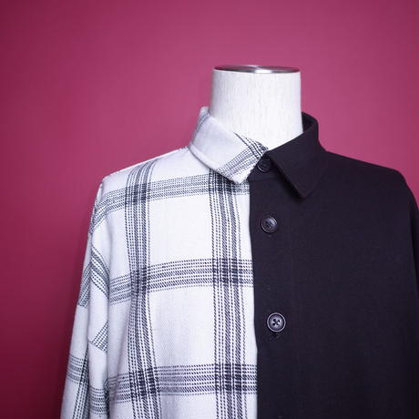 【AFYF】BILINGUAL LONG SHIRT[BLACK/WHITE×BLACK]