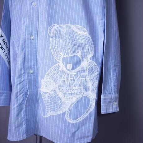 ダークベアーバザール 限定生産アイテム【AFYF】SPECIAL  COTTON  BIG SHIRT【DARK BEAR&ANIMAL-SAX/WHITE】