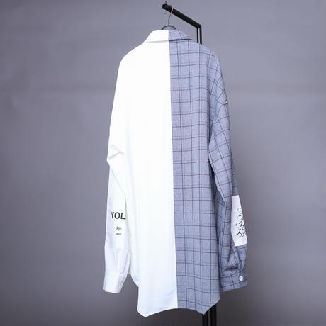 【AFYF】  ICONBILINGUAL SHIRT [GRAY×BLK CHECK/WHITE]