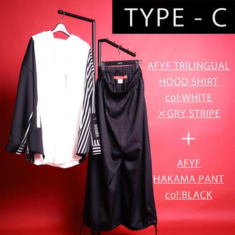 【AFYF】[自由の女神コンビアイテム]  HOOD TRILINGUAL SHIRT×袴PANT