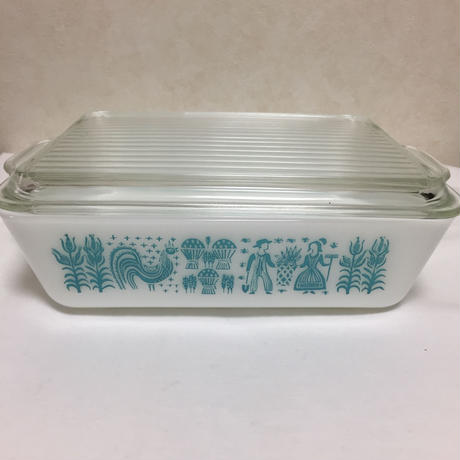 Vintage Pyrex Turquoise Amish Butterprint Refrigerator Dish503