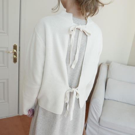 【予約商品】W &C  Back ribbon knit