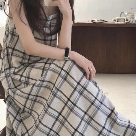 【予約商品】check camisole ops