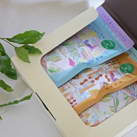 そのぎ茶 タグ付きティーバッグ3種セット(玉緑茶・ほうじ茶・和紅茶)【箱入り】