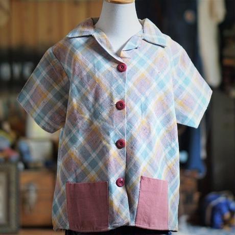 40sDEAD STOCK キッズチェック柄半袖シャンブレーシャツ