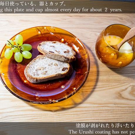 Suki-Urushi Plate - Aoikarakusa 透漆プレート 葵唐草