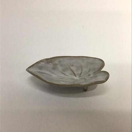 白釉カラーリーフ皿065w