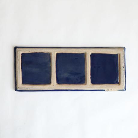 瑠璃櫛目分長皿1枚 角皿 プレート70v