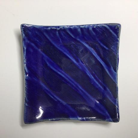 瑠璃釉櫛目陶板角小皿058v