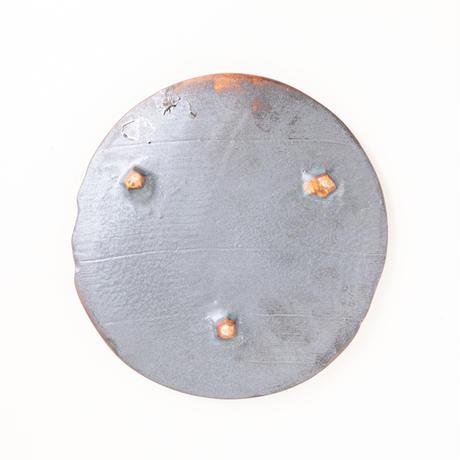 三方足付焼〆陶板皿056b