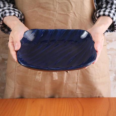 瑠璃櫛目陶板皿 角皿 プレート皿 ・パン皿057v