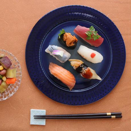 瑠璃釉フラット皿 平皿 プレート皿 25cm 062v
