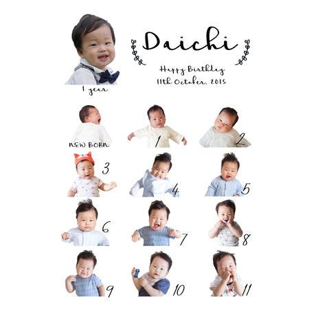 新生児〜1歳までの写真が入る!シンプルなメモリアルポスター