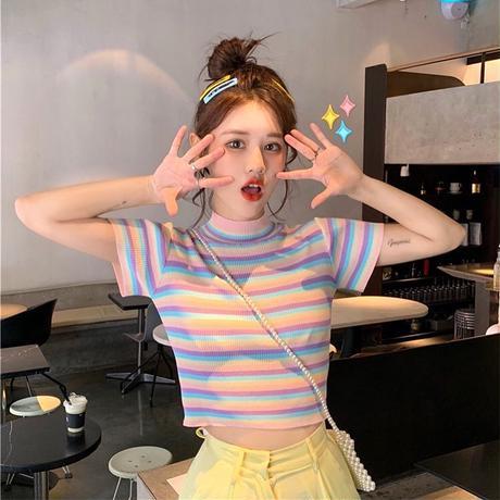 韓国風レインボーサマートップス