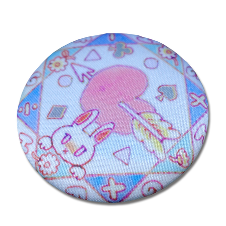 Her Ghost Friend - Cloth Covered Tin Badge