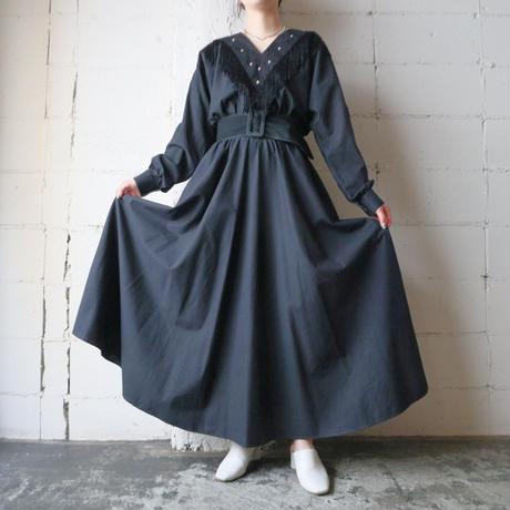 Vneck Fringe Dress BK