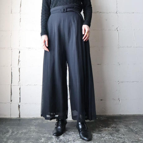 Seethrough Pleated Pants BK